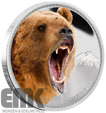 Niue - 2 Dollar 2016 - Grizzly Bear - Grizzly Bär - 1 Oz. Silber Farbmünze in PP
