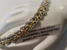 LADIES GOLD & SILVER SPARKLY LEAVES MAGNETIC PAIN HEALING PRO THERAPY BRACELET