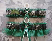 Mossy Oak Hunter Green Wedding Garters Camouflage Camo Deer Charms Hunting
