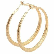 "Awesome 9K Yellow Gold Filled Frost Textured 2"" Round Hoop Earrings"