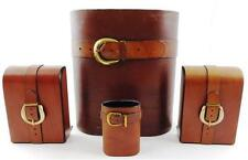 20th C. Taylor Productions leather desk accessories with buckle and s... Lot 214