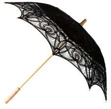 Black Lace Parasol Unbrella Vintage Victorian Style Weddings Fancy Dress New