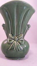 Vintage Shawnee Art Pottery Vase #819 USA Embossed Bow FLOWER VASE Large Green