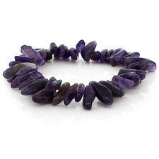Womens 7 Inch Natural Genuine Purple Amethyst  Stone Chip Stretchy Bracelet