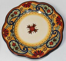 Retired set of 4 Corsica Crown Jewel round Salad Luncheon paisley floral Plates