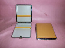 Faux Leather CIGARETTE CASE - - - Smoker Smoking tan faun cream Tin Box Holder