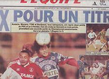 journal  l'equipe 30/11/92 FOOTBALL MONACO NANTES AUXERRE MARSEILLE BORDEAUX