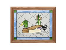 13x16 MALLARD DUCK Bird Stained Art Glass Framed Suncatcher