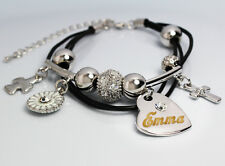 Genuine Braided Leather Charm Bracelet With Name - EMMA - Gifts for her
