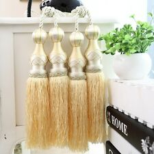 "11"" Luxury Double Head Curtain Tassel Tieback Holdback Large PALE GOLD / YELLOW"