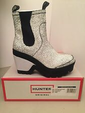 Hunter Chelsea Original Cracked Leather Platform Wedge Boots Size 8M *NEW