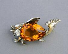 Vintage Signed REJA Jelly Belly Sterling Silver FISH  Brooch