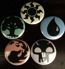 "MTG - 1"" Mana Button Pin Set of 5 - Magic the Gathering - Buy 2 Sets Get 1 Free"