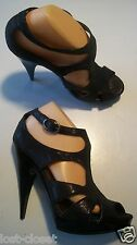 Audrey Brooke Black Textured Gladiator Ankle Sandals Platform Shoe Size 9 cLOSeT