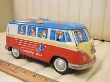 "1960s Yomezawa Tin Volkwagen VW Camping ""Speaking"" Bus Toy Japan"