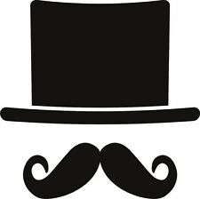 Hat and Moustach Sticker Decal Graphic Vinyl Label Back V3