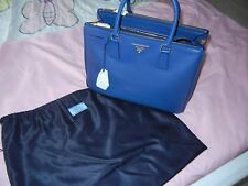 New Authentic Prada Saffiano Medium Double Zip Top-Handle Bag Royal Blue Color
