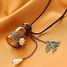 Vintage Butterfly Flower Pendant Wishing Glass Bottle Charm Leather Necklace New