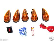 12 VOLT 5 PC AMBER TEARDROP CAB LIGHT KIT TRUCK RV'S SAFETY LIGHTS ON-OFF SWITCH