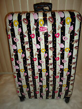 BETSEY JOHNSON  L 28 IN DONUT STRIPE HARDSIDE SPINNER LUGGAGE SUITCASE WOW! NWT