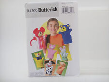 Butterick Pattern B4209, Hand Puppets, Bear, Pig, Cat, Dog, Monkey, Mouse, Bunny