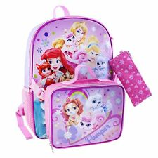 """Disney Princesses Palace Pets """"PAMPER ME"""" Backpack Lunch Bag & Pencil Case NWT"""