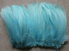 "100+ (7.0g, 1/4Oz) Aqua Blue 5-7"" Hackle Rooster COQUE Feathers for crafting"