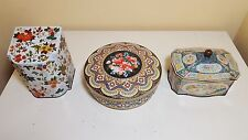 3 Vintage Decorative Floral Tin Containers, Tea /Sewing/ Cookie containers