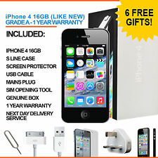 Apple iPhone 4 16GB Black Factory Unlocked Grade A Bundle
