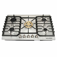 """30"""" Stainless Steel Gold Burner Built-in 5 Stoves Natural Gas Cooktops Cooker"""