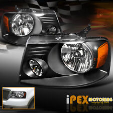 NEW For 2004-2008 Ford F150 Black Headlights & 06-08 Lincoln Mark LT Headlamps