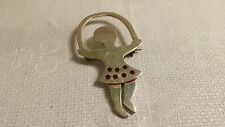 Mexico 925 Sterling Girl in Red Polka Dot Dress Playing Jump Rope Brooch Pin 16g