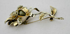 A 1941- 43 Signed Coro Sterling Silver and Rhinestone Rose Brooch Pin