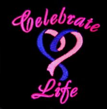 Celebrate Life Hoodie L Heart Embroidery Cancer Awareness Navy Sweatshirt New