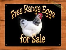 TIN  Sign Free Range Eggs For Sale Rooster Chicken Decor Farm Barn Coop