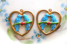 #1564J Vintage Love Birds Findings Brass Hearts Connectors Blue Bird Drops  RARE