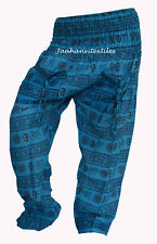 INDIAN BAGGY GYPSY HAREM PANTS YOGA MEN WOMEN COTTON OM PRINT TROUSERS ;ed