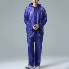 New Adult Raincoat Suit Outdoor Hooded Rain Coat Hiking Windproof Top + Trousers