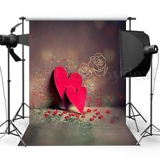 3x5ft Red Heart Rose Wall Photography Backdrop Photo Props Studio Background Hot