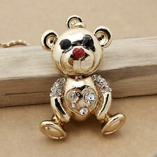 Fashion Gold plating Crystal Lovely bear sweater chain long necklace CC329