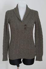 WOMENS MASSIMO DUTTI JUMPER CASHMERE ANGORA WOOL CABLE KNIT GREY SIZE S SMALL