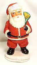 INO SCHALLER~Red Sandstone Santa w/Bear ~Paper Mache CHRISTmas Candybox~Germany