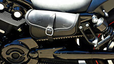LEATHER SADDLE BAG FOR HARLEY DAVIDSON V ROD NIGHT ROD, LEFT SIDE  MADE IN ITALY