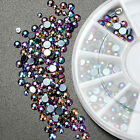 300Pcs 3D Nail Art Tips Glitter Crystal Rhinestone Pearl DIY Decoration Wheel