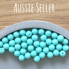 30x silicone beads AQUA BLUE 12mm BULK round BPA free baby teething necklace toy