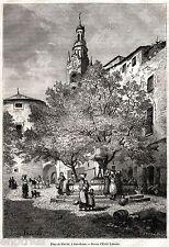 Sanremo: Piazza Eroi Sanremesi.Imperia.Liguria.Stampa Antica + Passepartout.1877