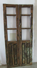 Antique Pair Carved Mexican Old Doors-Vintage-Primitive-Rustic-Wood-32x73 in