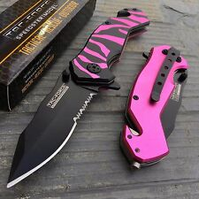 TAC FORCE Spring Assisted Pink Tiger Zebra Stripe Camping Hunting Tactical Knife