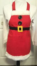 Old Navy Child Christmas Chef Apron Santa's Helper Red Fur White Black One Size