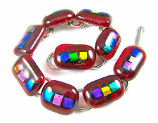"DICHROIC Link Bracelet Ruby Red Fused Glass Colorful Rainbow Dots 1/2"" x 7.5"""